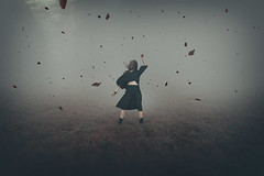 Look beyond the face (Ans van de Sluis) Tags: 2018 ansvandesluis october creative female fineart motion movement paint portrait selfportrait sky woman surreal faceless painterly leaves mystical mystery