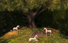 When Spring Comes - 03/2019 (IvoryBouscario) Tags: sl secondlife ostarasaltar unicorn spring trees flowers woods forest fantasy myth animal creature mythology
