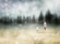 when you feel love you give space . . . (YvonneRaulston) Tags: sydney australia impressionist moody emotive moments sand figures child people beach