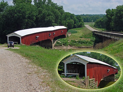 1876 West Union Covered Bridge - Parke County indiana ... (Davey Z (2)) Tags: 1876 phillips covered bridge parke county indiana the double burr arch west union is 325 long located toe path road spanning sugar creek longest remaining red white wood