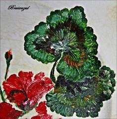 Óleo (bruixazul poc a poc...) Tags: óleo plato porcelana porcelain plate macro pintura geranio macromondays hobby