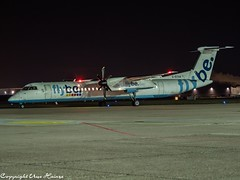 flybe G-ECOA HAJ at Night (U. Heinze) Tags: aircraft airlines airways airplane planespotting plane night nightshot haj hannoverlangenhagenairporthaj eddv flugzeug olympus 12100mm