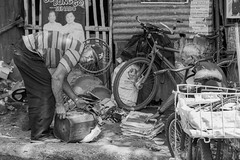 Sorting (Beegee49) Tags: street men people sorting rubbish scrap blackandwhite monochrome bw happy planet luminar sony a 6000 bacolod city philippines asia
