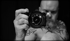 I Am Me. . . (CWhatPhotos) Tags: cwhatphotos flickr self camera nude me man male torso tattoo tattooed goatee beard portrait look photographs photograph pics pictures pic picture image images foto fotos photography that have which with contain mk iii digital lens bw mono tatts tribal upper body mal goateee chest naked semi pose