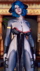 Charon - Vampire Dress 1 (DiamondbackVIII) Tags: elder scrolls v skyrim blue two toned skin horns pink eyes vampire dress coco gomaperoland dremora charon pinup snapdragon prime enb