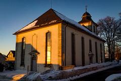church in the evening (A.K. 90) Tags: church kirche sunset sun sunlight licht schatten holy architecture architektur building gebäude bluesky evening winter snow schnee outside sonyalpha6300 e18135mm3556oss