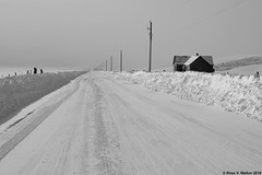 Distance (walkerross42) Tags: road snow ice fog mist vanishingpoint fence poles house abandoned georgetown idaho bearlakecounty bearlakevalley monochrome blackandwhite