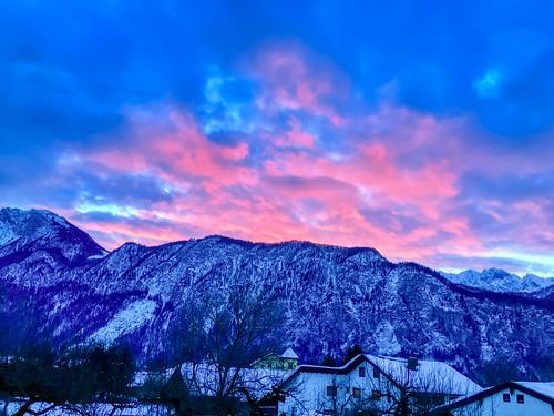 Pink sunrise over Kaiser mountains in Kiefersfelden, Bavaria, Germany