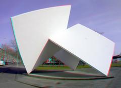 Hommage aan Oud en Van Doesburg by Lucien den Arend Marconiplein Rotterdam 3D (wim hoppenbrouwers) Tags: anaglyph stereo redcyan hommageaanoudenvandoesburgbyluciendenarend marconiplein rotterdam 3d hommageaanoudenvandoesburg luciendenarend art sculpture lumix gf3 met olympus fisheye bcl0980 9mm