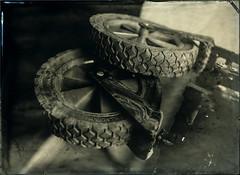 Collodion Wagon Wheels (Blurmageddon) Tags: largeformat wetplatecollodion alternativeprocess newguycollodion osaka120mmf63 senecaimprovedview 5x7 epsonv700 johncofferdeveloper alumitype tintype wheels