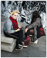 Graffiti Girls (donbyatt) Tags: shoreditch bricklane urban walls spraycans graffiti streetart candid people couples