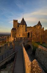 Mediaeval city walls at dusk (i-lenticularis) Tags: fe28 carcassonne evening dusk bluesky france mediaevalcitywalls