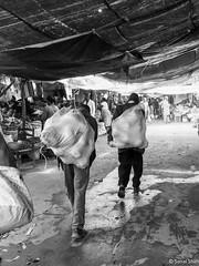 Carrying It Away - 10th July 2018 (princetontiger) Tags: kenya nairobi monochrome grayscale blackandwhite street streetphotography streetphotograpghy market carrying sacks