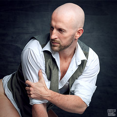 Always On My Mind (Tom 10) (WF portraits) Tags: svk man male portrait studio model shavedhead beard muscles fitness gym gilet waistcoat white shirt nude naked skin thoughts mind emotion d800