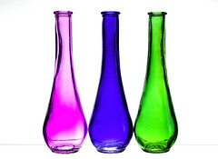 3 Vases (Karen_Chappell) Tags: pink blue green white three 3 glass vase stilllife product bright colourful colours colour color multicoloured