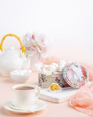 Kahk 3 (omer.arahman) Tags: kahk cookies middleeastern yummy homemade homebaking sugar nuts peanuts teapot teacup tea board white pink flowers food drink hot