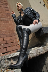 Tabea 35 (The Booted Cat) Tags: sexy blonde hair model girl smoking cigarette leather jacket boots overkneeboots belt