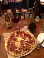 Pepperoni pizza and pinot noir (sarahstierch) Tags: labicyclette california carmelbythesea carmel montereycounty restaurants dining italianfood pizza pinotnoir pepperonipizza