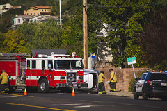 wreck [Day 3673] (brianjmatis) Tags: firetruck road accident automotive street car automobile vehicle crash photoaday project365 sanluisobispo california unitedstatesofamerica us