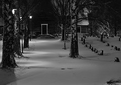Skjåk Kirke (tskogset) Tags: kirke church skjåk oppland norway winter snow ice cold birch graveyard tree pentaxk1mkll hdpentaxdfa28105mmf3556eddcwr flickr night bw monocrome skjåkchurch