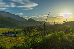 Laut Tawar. Arrival scene (feisas) Tags: indonesia sumatra bandaaceh aceh mountains adventure gunung alam bagus travel motorcycle green nature landscape sun clouds hills fields lake water sunset colorful color vivid sonya7 fullframe lauttawar remote panorama danau takengon