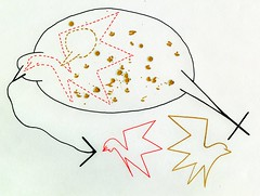 Sexual Selection (Daniel Ari Friedman) Tags: danielarifriedman daniel friedman art pen drawing black red color gold evolution sexual selection biology bird splatter draw science philosophy paper ink creative artistic geometry topology mathematics cartoon freehand freedraw craft