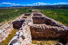 Tuzigoot National Monument in Clarkdale, Arizona (lhboudreau) Tags: nativeamerican americanindian nativeamericans americanindians indian indians ruins monument nationalmonument tuzigoot arizona clarkdale clarkdalearizona tuzigootnationalmonument 2015 apache sinaguan sinaguanindians pueblo pueblos hilltoppueblo outdoor outdoors landscape mountain mountains sky cloud clouds rock rocks stone stones wall walls room rooms floodplain grass ancient