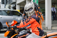 Predator (Beegee49) Tags: street motorbike predator movie helmet happy planet kawasaki show luminar sony a6000 bacolod city philippines asia colourful colour coordinated
