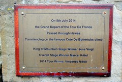 Grand Depart Plaque (zawtowers) Tags: hawes north yorkshire upper wensleydale dales england countryside rural market town famous cheese saturday 16th february 2019 dry sunny bright grand depart 2014 tour de france cote buttertubs jens voigt marcel kittel vincenzo nibali