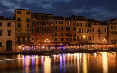 View of Rialto Blues (henriksundholm.com) Tags: rialto venice veneto dusk night city urban canal river lake water reflections shadow boat gondola building house medieval lamp light clouds sky hdr italy