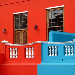 The colours of Bo-Kaap (__ PeterCH51 __) Tags: bokaap malayquarter capetown westerncape southafrica za colourful house housewall red blue intensered redhouse bluehouse color colour colourfulhouse peterch51 square