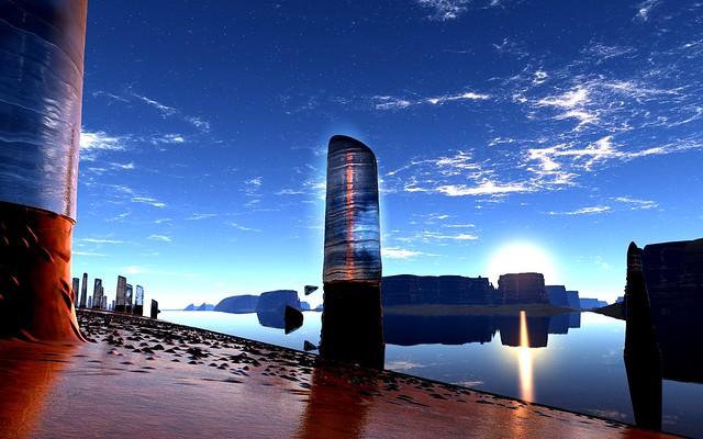 Обои природа, hd, берег, апокалипсис, видоизменение, вода, камни, небо картинки на рабочий стол, фото скачать бесплатно