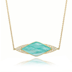 Horizontal Accented 18k Yellow Gold Diamond Necklace With Clear Quartz Over Amazonite (diamondanddesign) Tags: horizontalaccented18kyellowgolddiamondnecklacewithclearquartzoveramazonite n8042az 18k yellow gold amazon breeze doves 03 ct necklaces diamond clear quartz over amazonite front