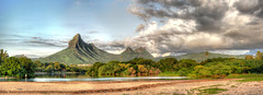 MAURITIUS Rempart Mountain (stega60) Tags: mauritius rempartmountain mountain matterhorn matterhornofmauritius landscape dream clouds nuage ciel sky plants water river plage beach green blue brown fishing hdr stiched pano panorama hdrpanorama stega60