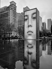 Storm (ancientlives) Tags: chicago illinois il usa travel trips millenniumpark crownfountain fountain architecture buildings towers skyline skyscrapers city cityscape michiganavenue rain storm clouds weather video walking streetphotography mono monochrome blackandwhite bw wednesday april 2019 spring