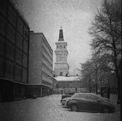 Expired film filter test (Sonofsono) Tags: expired film finland oulu church black bw white lubitel lubitel2 tlr svema 120 r09 rodinal longexposure filter