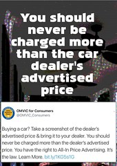 Quotation: You should never be charged more than the car dealer's advertised price. (Ken Whytock) Tags: cars carsales adverstise price allinpricing dealership