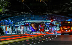 3 car inbound (pbo31) Tags: bayarea california nikon d810 night dark black city feburary 2019 boury pbo31 urban color sanfrancisco lightstream traffic motion roadway westportal tunnel muni tram bus blur