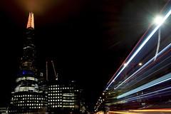 Bus To London Bridge (Douguerreotype) Tags: london uk dark light shard british buildings architecture city britain night bus gb urban england