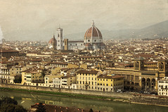 View to Florence from Piazzale Michelangelo (Tiigra) Tags: florence tuscany italy it provinceofflorence 2014 architecture bell castle church city dome gothic palace portal renaissance river road romanesque roof spire tower wall arch