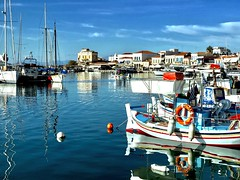 The blue port (AchillWandering) Tags: port aegina greece saronikos gulf boats sea outdoor blue water fishboat island sky bay landscape view ciel downtown maritime colors monochrome dream nature anawesomeshot