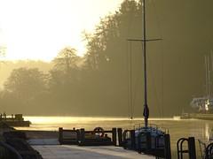 Gloriously golden sunrise (Phil Gayton) Tags: mooring stage dock frost boat water mist rowing tree sky sun sunlight sunrise golden glorious home reach river dart totnes devon uk silhouette
