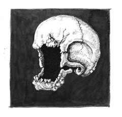 withering tumor (ashley russell 676) Tags: withering tumor skull disintegrate disease cancer pen ink drawing illustration dark horror sickness plague art