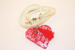 Polymer Quilted Heart Pendant (Bits of Clay) Tags: polymerclay pendant heart handmade valentine tassel beads satin cord