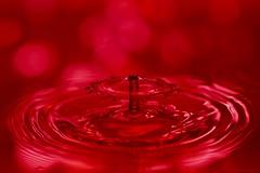 One drop of love potion (CHWVB) Tags: lovepotion flickrfriday bokeh wassertropfen splash waterdrop wasser water tropfenfotografie macro hochgeschwimdigkeit highspeed drop tropfen rot red hochgeschwindigkeit