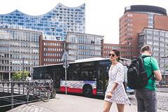 Summer in the city (Art de Lux) Tags: hamburg wilhelminenbrücke people man woman bus elbphilharmonie summer city street candid artdelux elbephilharmonichall deutschland germany menschen personen mann frau sommer stadt bike bicycle summilux mft strase fahrrad