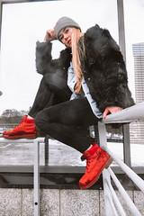 MERIT-2150190 (qauqe) Tags: tartu estonia model female girl woman beanie chick fashion ootd leica timberland footwear red urban streetwear furcoat fur jacket smile laughter winter