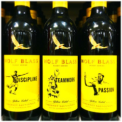 Wolf Blass Wine (JulieK (thanks for 8 million views)) Tags: songlyrics redwine alcohol wolfblass australian yellow label colourful hipstamaticapp tesco supermarket bottle glass advertising ub40 100xthe2019edition 100x2019 image45100