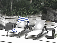 Making a Claim (Steve Taylor (Photography)) Tags: lounger pool towel hotel digitalart architecture seat table black blue green grey white tile asia city singapore plant texture