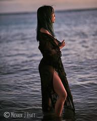 Esther (mysticmindeye) Tags: alamoanabeachpark esther blackdress hawaii model modelling moody oahu ocean sunset unitedstates